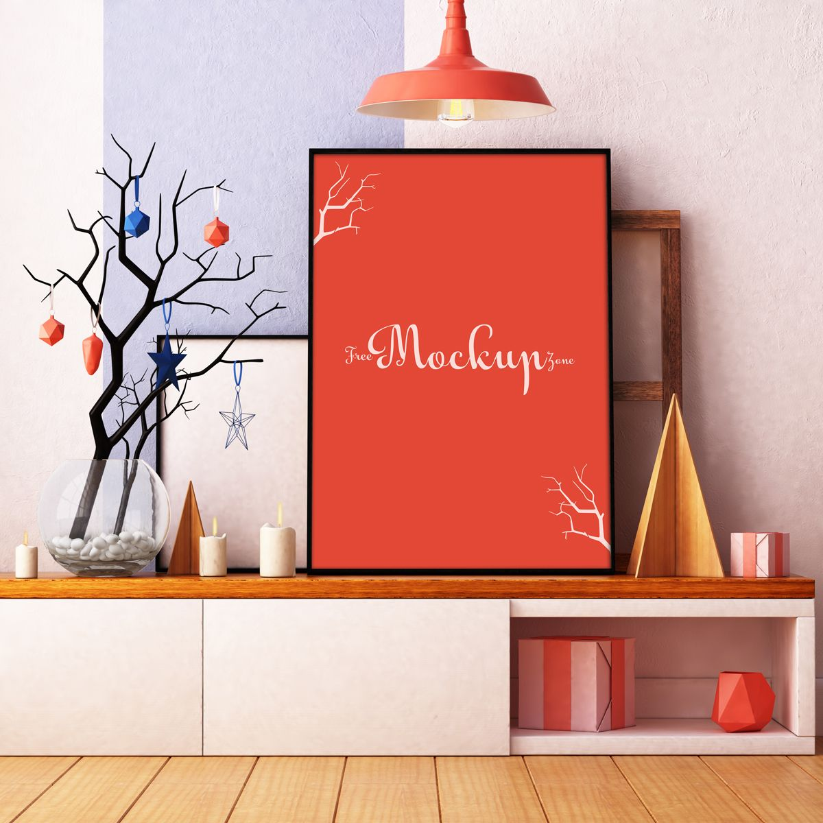 Free room interior poster mockup psd all things design - Design a room online free ...