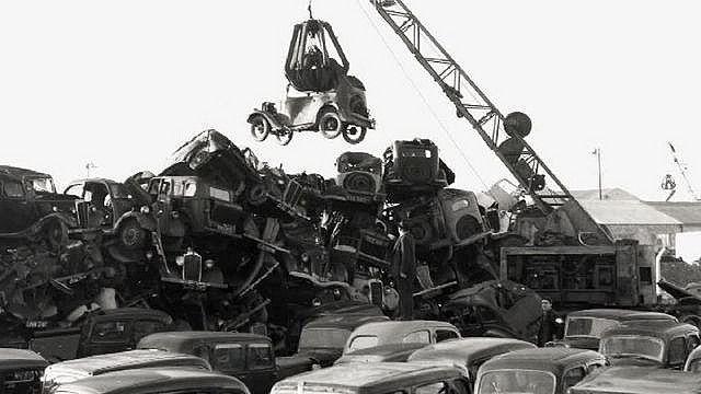 Scrap yard late 1950s  | Abandoned cars, Wrecking yards