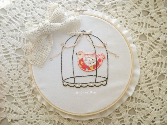Kit Hand Embroidery Caged Bird Kit   Holiday by amelieandhenri