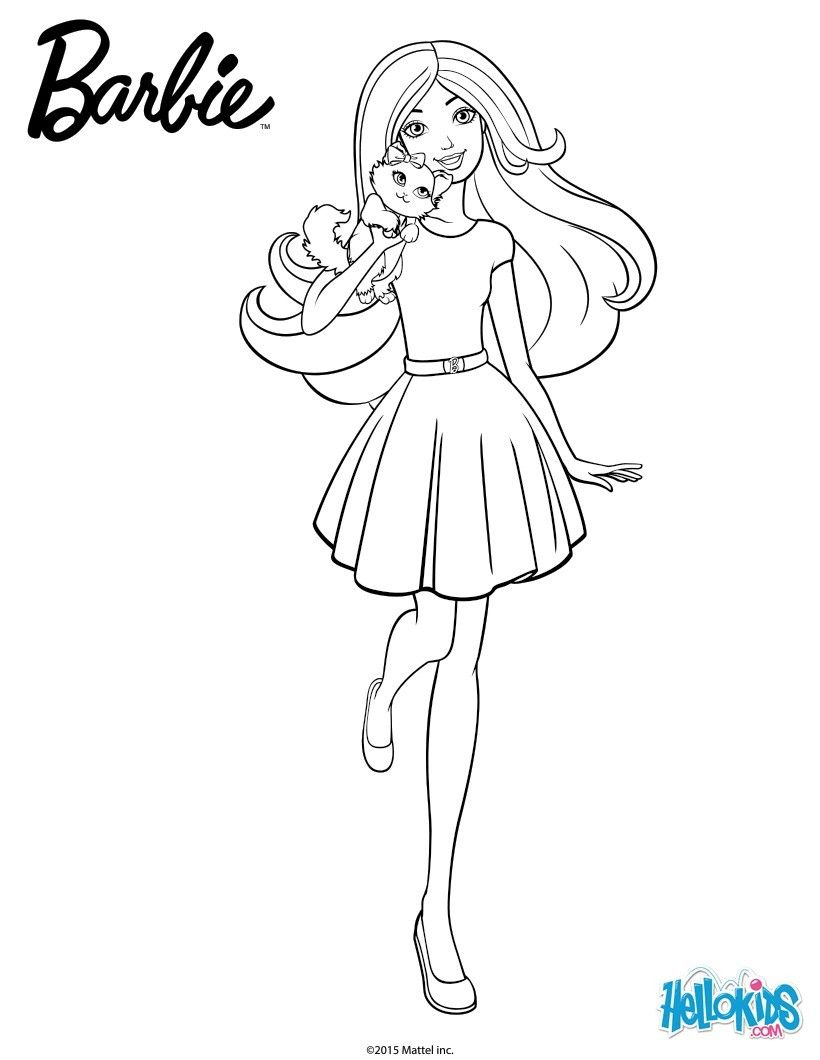 Print Page Barbie With Her Cuddly Kitty Barbie Drawing Barbie Coloring Pages Disney Coloring Pages Printables