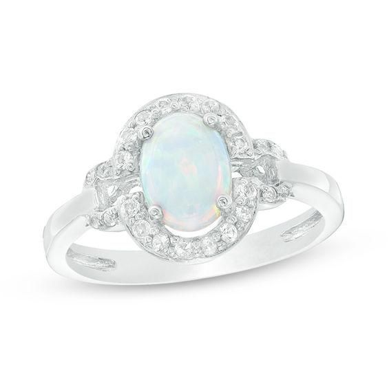 Zales 6.0mm Lab-Created Opal and 1/20 CT. T.w. Diamond Vintage-Style Flower Ring in Sterling Silver with 18K Gold Plate KCBM0Y