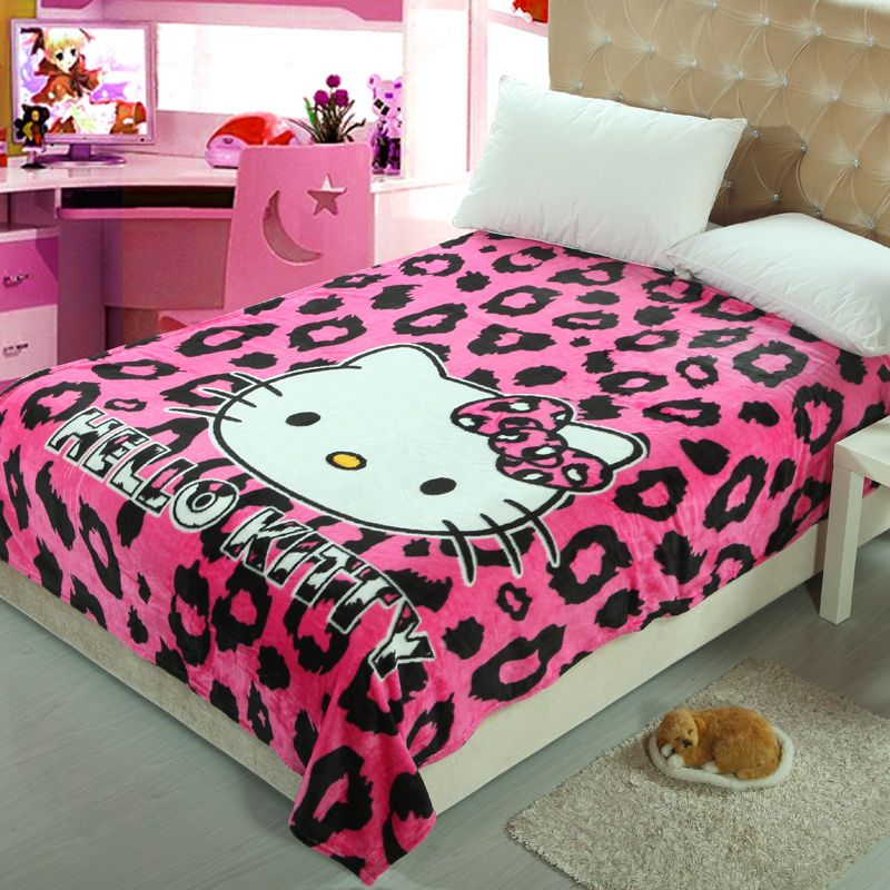 Cute lip KT Cat Warm Flannel Plush Soft Throw Blanket