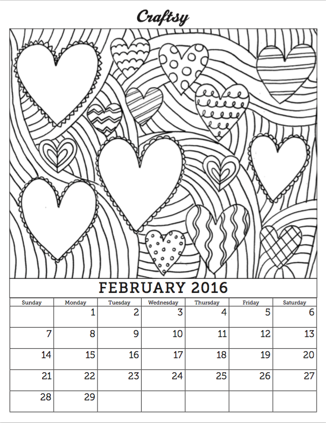 Free February 2016 Coloring Calendar Page | Craft, Adult coloring ...