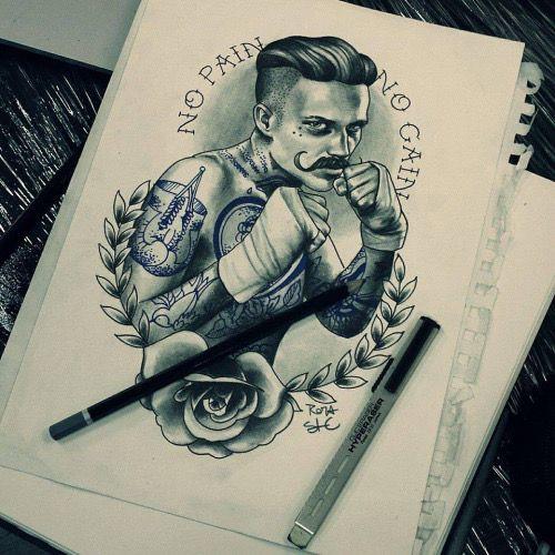 Epingle Par Anthony Sur Tattoo Tatouage Old School Homme Idees De Tatouages Tatouage De Boxeur