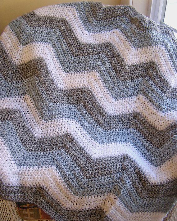 chevron zig zag baby blanket afghan wrap crochet knit lap robe ...