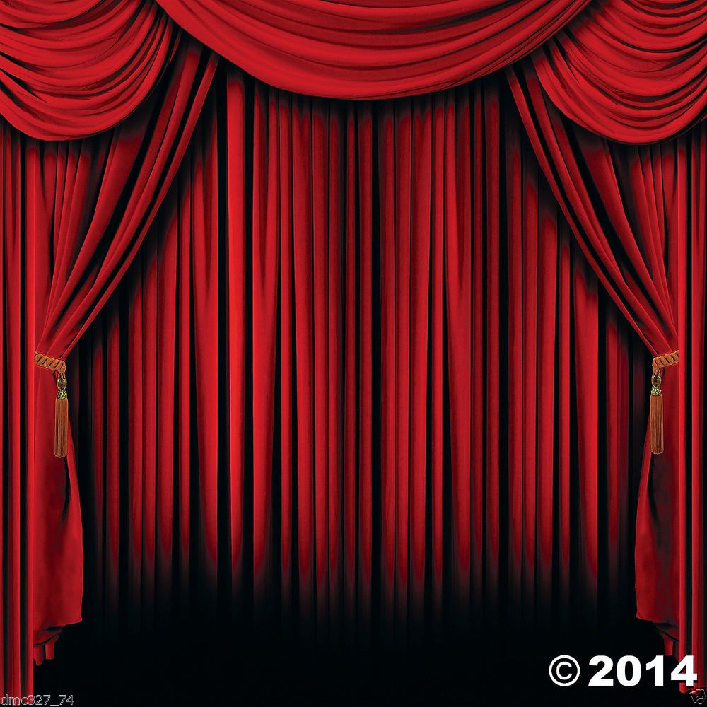 Hollywood movie magic show circus party photo booth red for Background curtain decoration