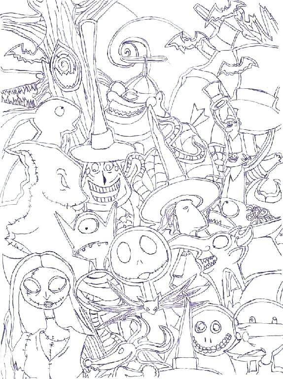 Free Printable Nightmare Before Christmas Coloring Pages | Love ... | 768x574