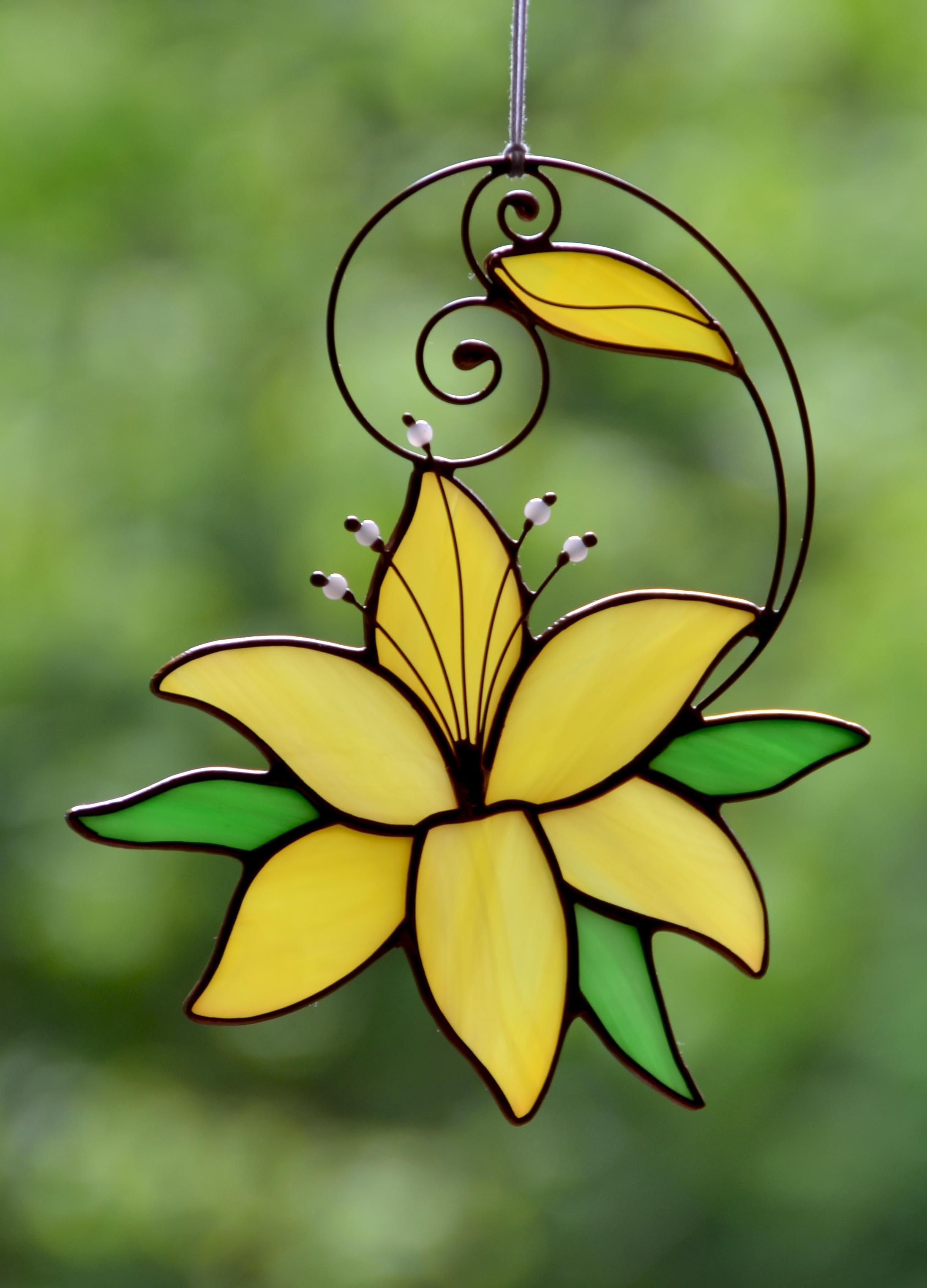 Stained Glass Flower Suncatcher For Window Yellow Lily Hanging