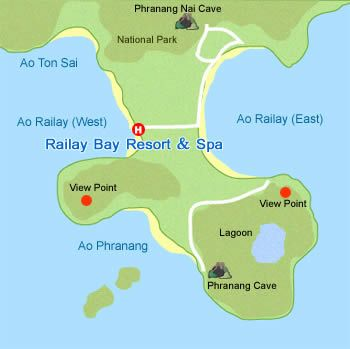 Map of Railay Bay Resort Spa Krabi Thailand Pinterest