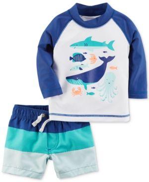 7a9db721cc Carter's 2-Pc. Sea Creatures Rash Guard & Colorblocked Swim Trunks Set,  Baby Boys (0-24 months) - Blue