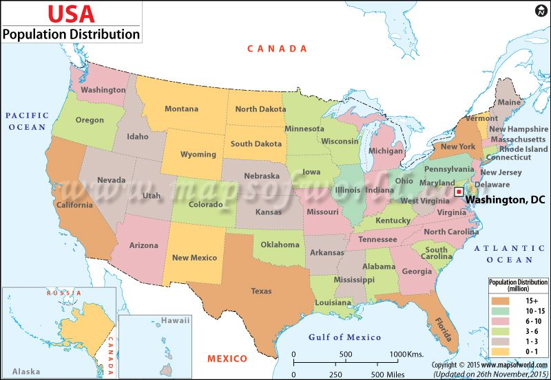 Color Coded Map Of Usa.The Usa Population Map Shows The Population Distribution Of Each