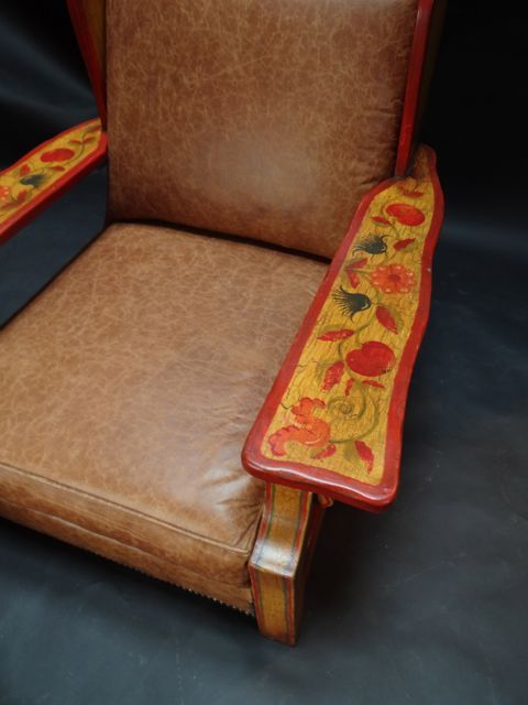 Monterey Transitional Crackle Floral 1934 Wing Back Chair