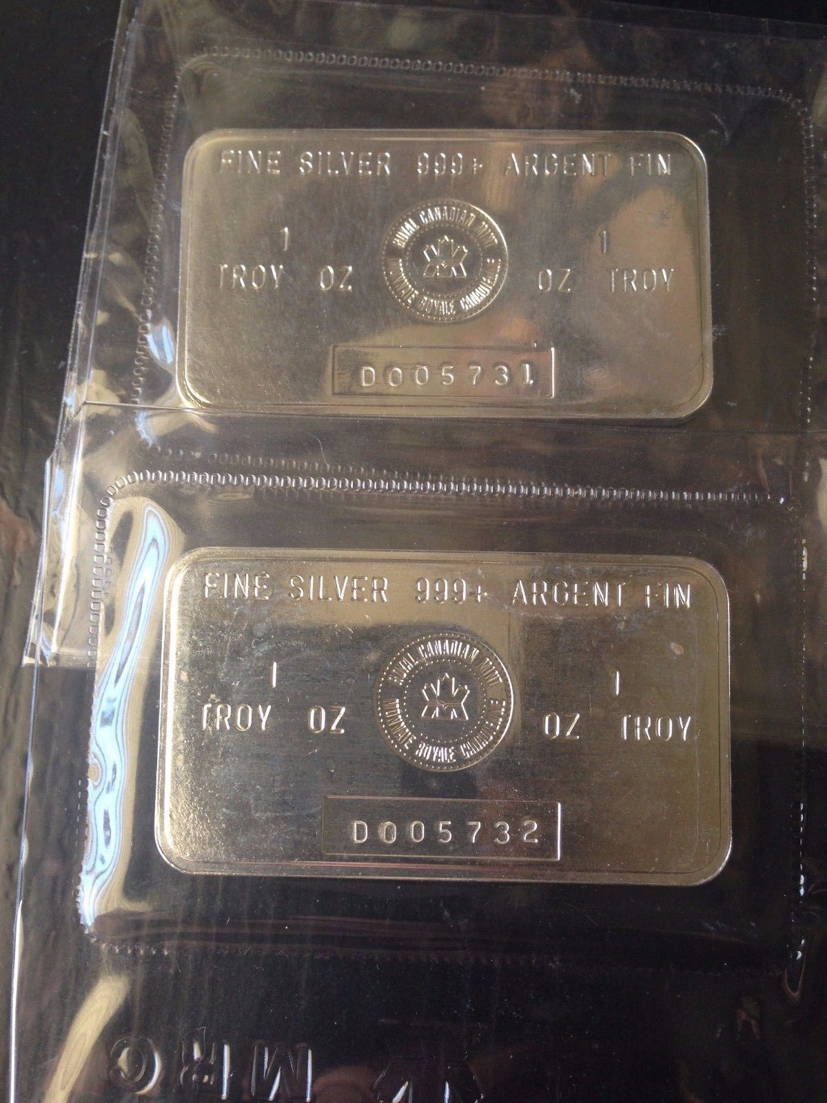 1 Troy Oz Royal Canadian Mint Rcm Silver Bar Sealed Lot 2 Consecutive Serial S Silver Bars Mint Silver