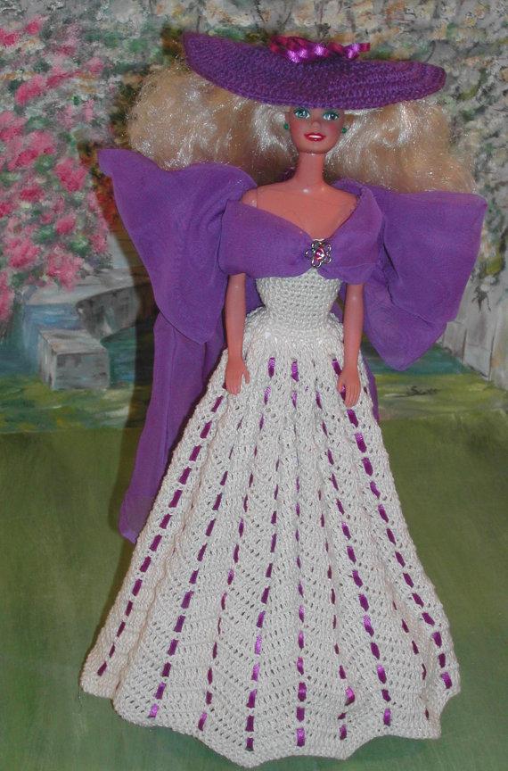 Crochet Fashion Doll Barbie Pattern- #153 A PRETTY LADY | Vestidos ...