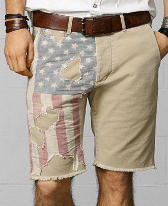 Denim  Supply Ralph Lauren Distressed-Flag Cutoff Shorts - Denim  Supply Ralph Lauren - Men - Macy's