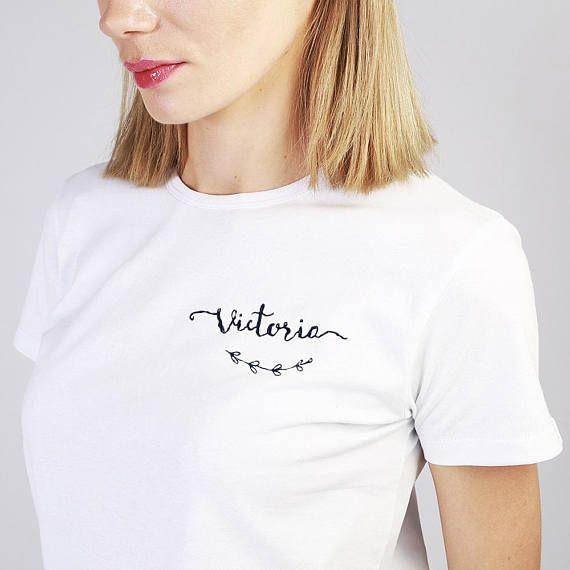 b257b51853a89 Custom tshirt women, hand embroidered t-shirt, custom order shirt ...