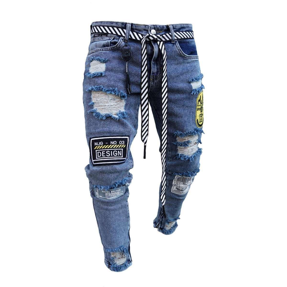 Mjg destroyed denim patches 3.0 blue   Männer outfit