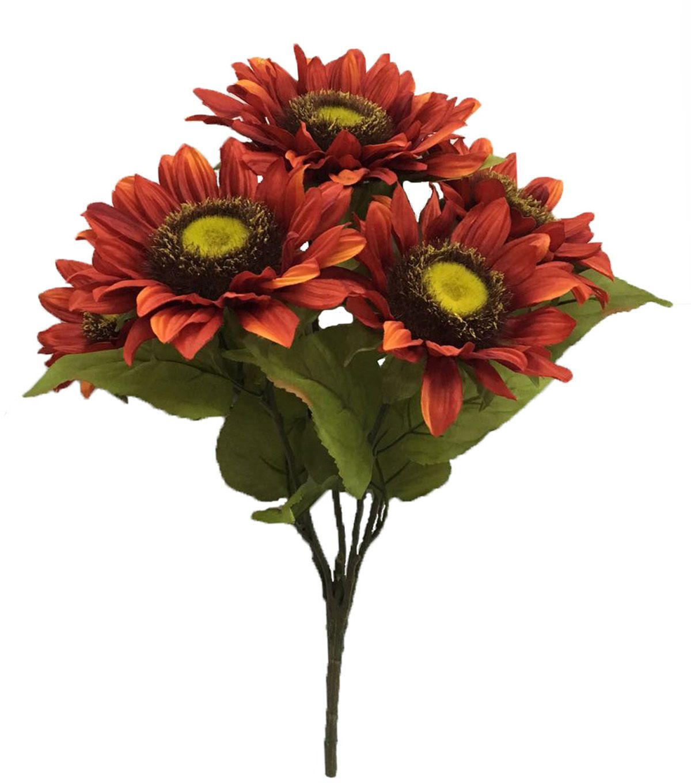 Blooming Autumn 20'' Sunflower Bush - Red