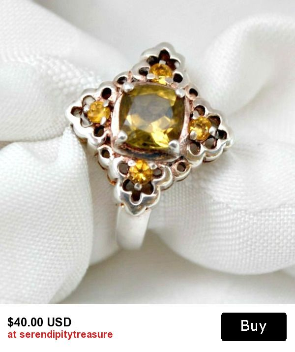 Prasiolite and Citrine sterling silver ring size 7