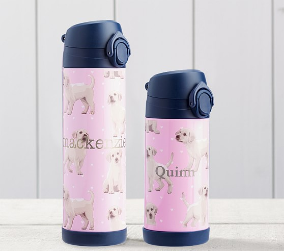 Mackenzie Pink Puppy With Navy Trim Water Bottles Bottle