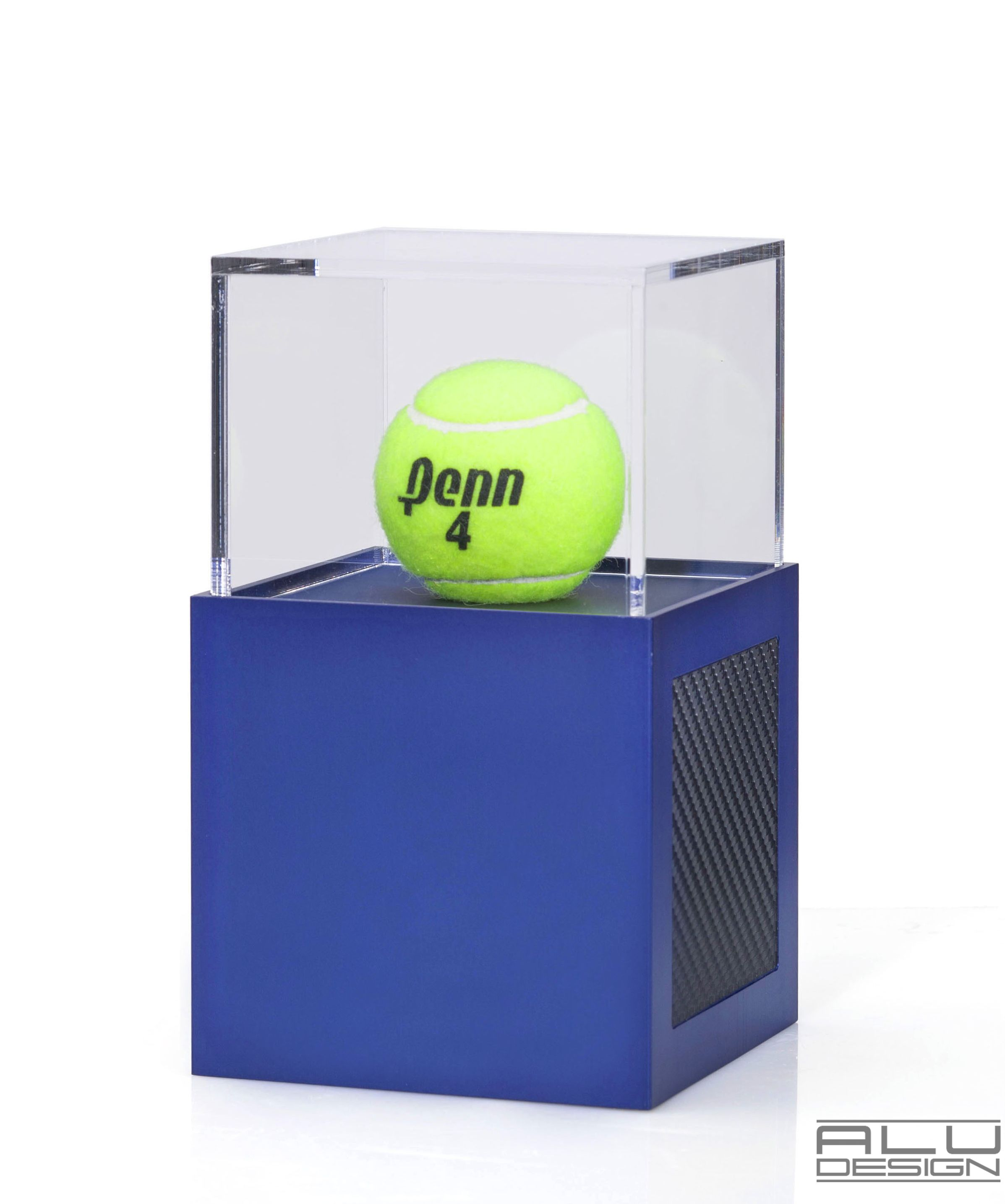 A Modern Tennis Ball Display Case Anodized Blue Aluminum with Black Carbon Fiber look. Modern Tennis Ball Displays. Tennis Trophy. German Design MADE IN USA by ALU DESIGN #signedball