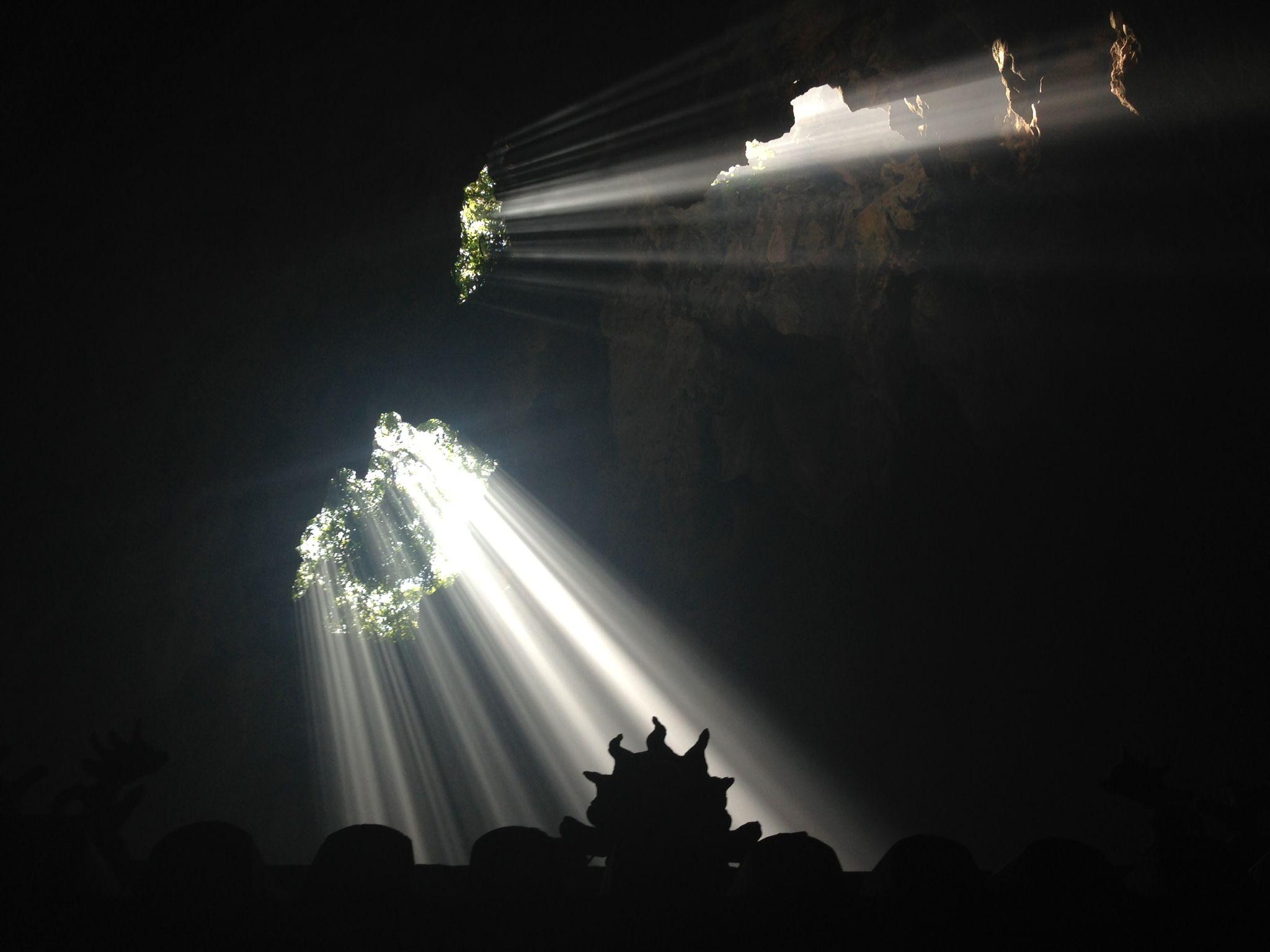 Sunbeams into Marble Mountain Cave #Hoi An