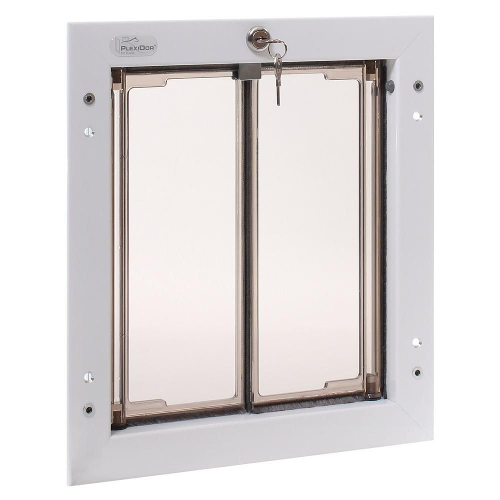 Plexidor Performance Pet Doors 9 In X 12 In Door Mount White Medium Dog Door Pet Door White Doors Home Depot