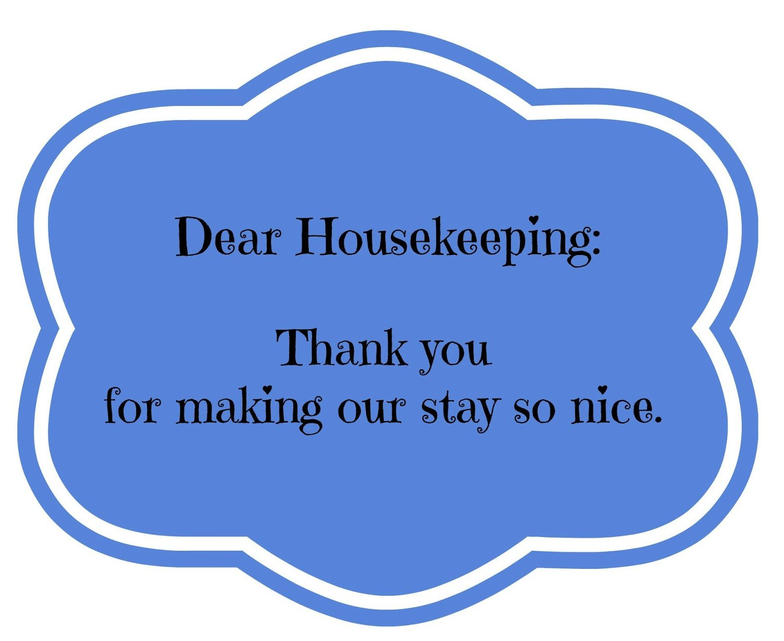 Printable Thank You Notes To Give Hotel Housekeeping With A Tip When Travel