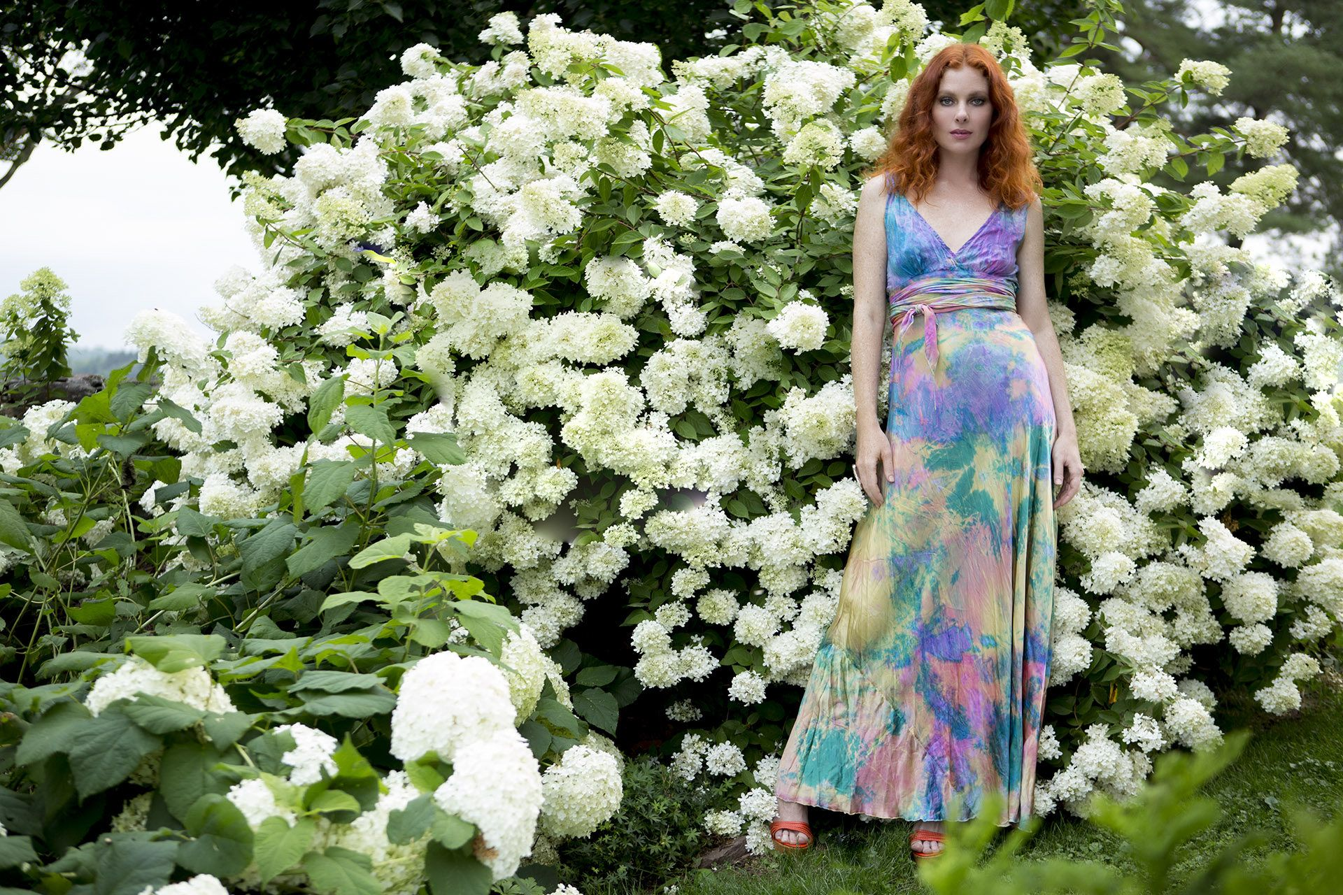 Mother of the bride beach dresses for weddings  rainbow dyed silk wedding dress boho chic bridal mother of the bride