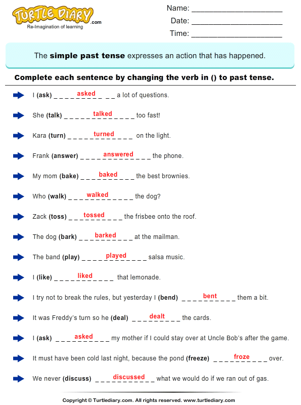 Change The Verbs To Past Tense Form Answer Simple Past Tense Worksheet, Simple  Past Tense, English Grammar Worksheets