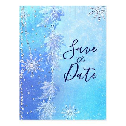Blue Winter Leaves  Snowflakes Save the Date Postcard Party gifts