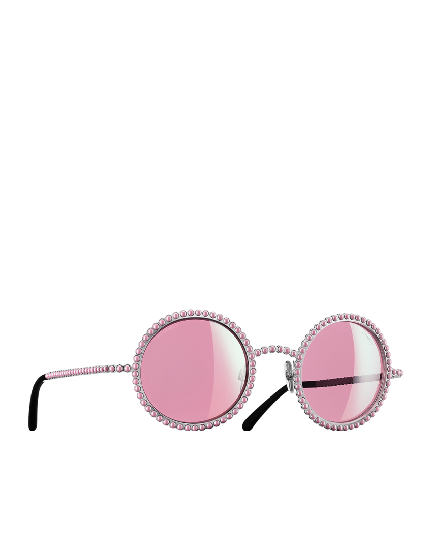 08abb6b50329 Round metal sunglasses paved with... - CHANEL