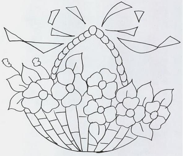 Dibujos de canastos con flores o frutas imagui bordados hermosos - Dibujos para pintar en tela ...