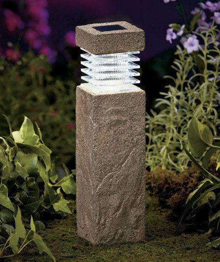 "Solar Lights For Driveway Pillars: Post Light Concrete Look 11"" Solar Garden Pillars Pathway"