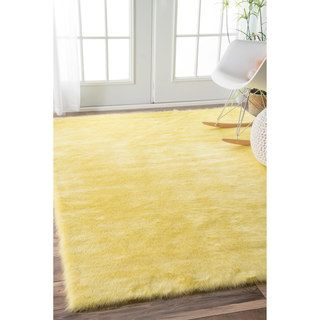 Nuloom Cozy Soft And Plush Faux Sheepskin Kids Nursery Yellow Rug 3 X