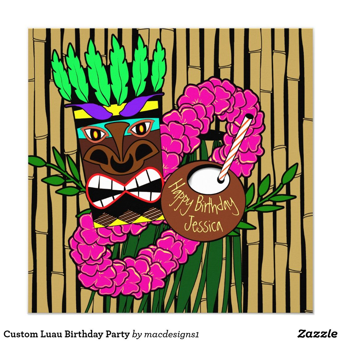 Custom Luau Birthday Party Card