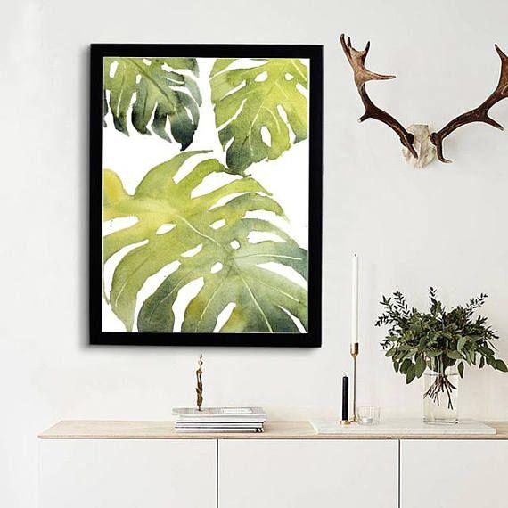 Tropical Leaves Print Monstera Art Kitchen Decor Banana Palm Leaf Printable