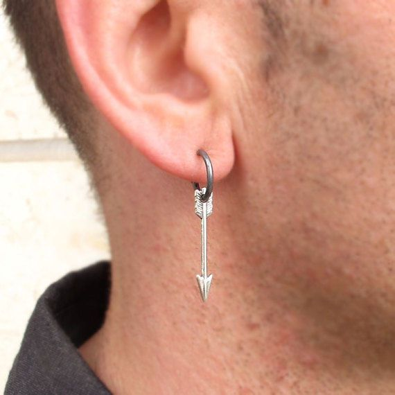 Arrow Single Men S Earring Black Dangle For Nadinartdesign Hoop