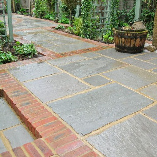Image Result For Grey Paving With Brick Edging Patio Stones