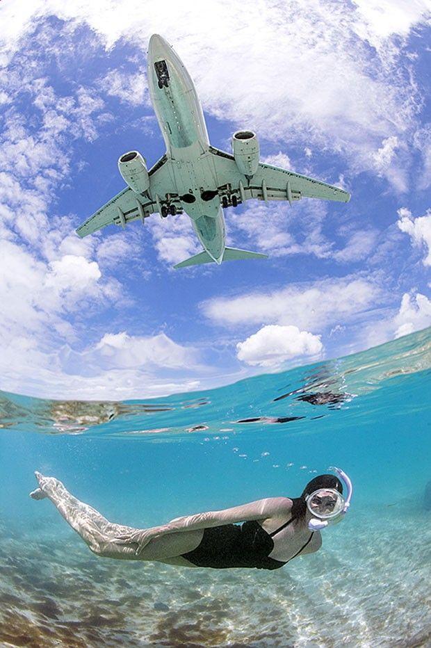 Brasileiro clica mergulho e voo de aviões ao mesmo tempo no