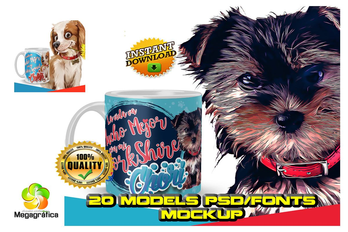 Mugs Templates Dogs 20 Models (Graphic) by Megagrafica