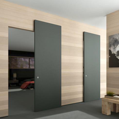 Soluzione scorrevole esterno parete senza binario a vista - Porta scorrevole esterna muro ...