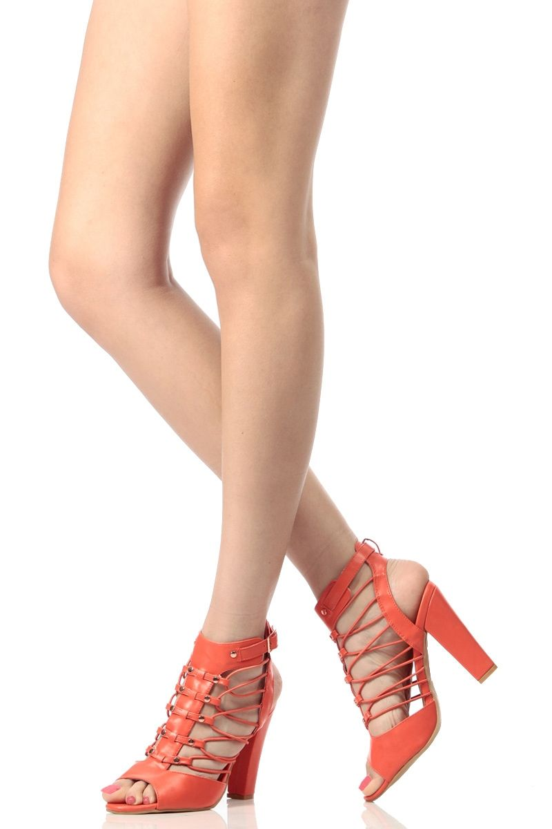 957740679d11 Orange Faux Leather Caged Open Toe Booties   Cicihot. Booties spell style