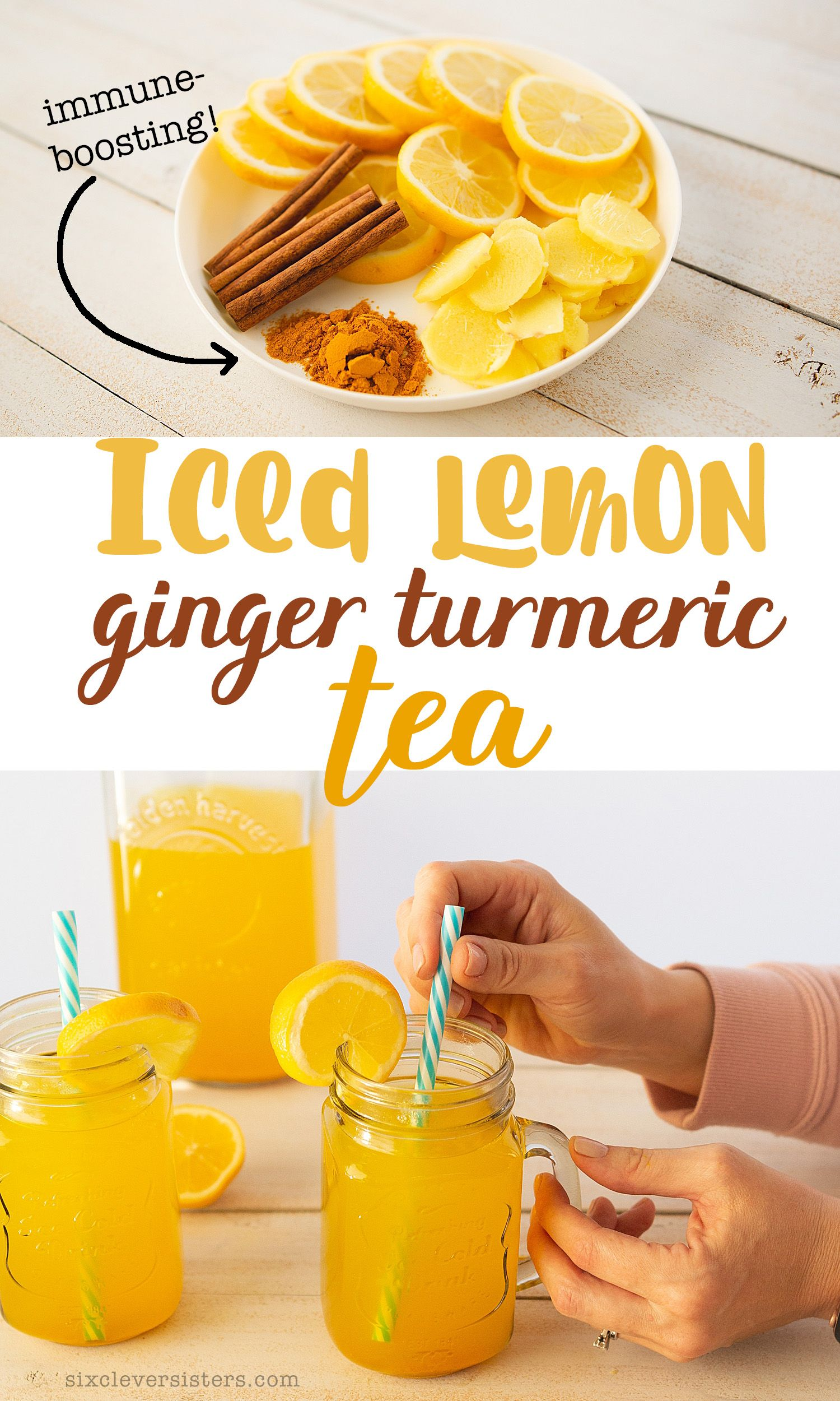 Give your immune system a boost during this flu season with this iced lemon ginger turmeric tea! It's a cold, turmeric tea recipe that is an immune boosting tea made to help your immune system be strong! #tea #tumeric #healthy #drink #recipe #recipeoftheday #lemon #healthyrecipe #immune