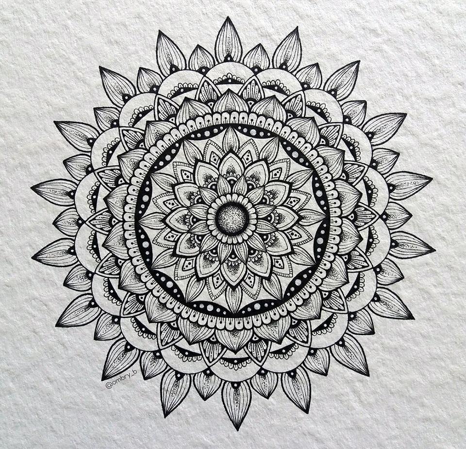 Hand drawn sunflower mandala (ink)   Mandala drawing ...