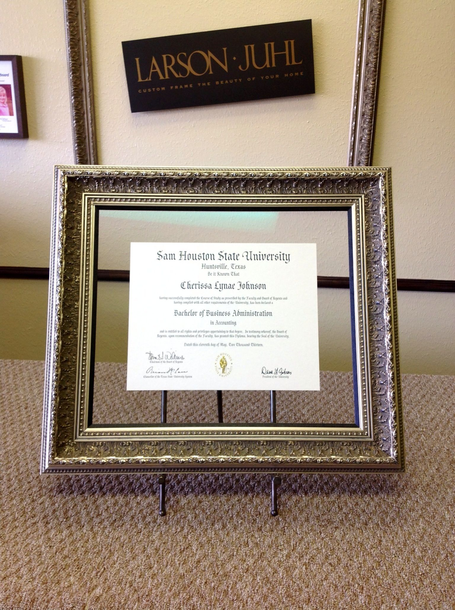 Sam Houston State University Degree Floated Between Two Pieces Of Museum Glass Larson Juhl Frame