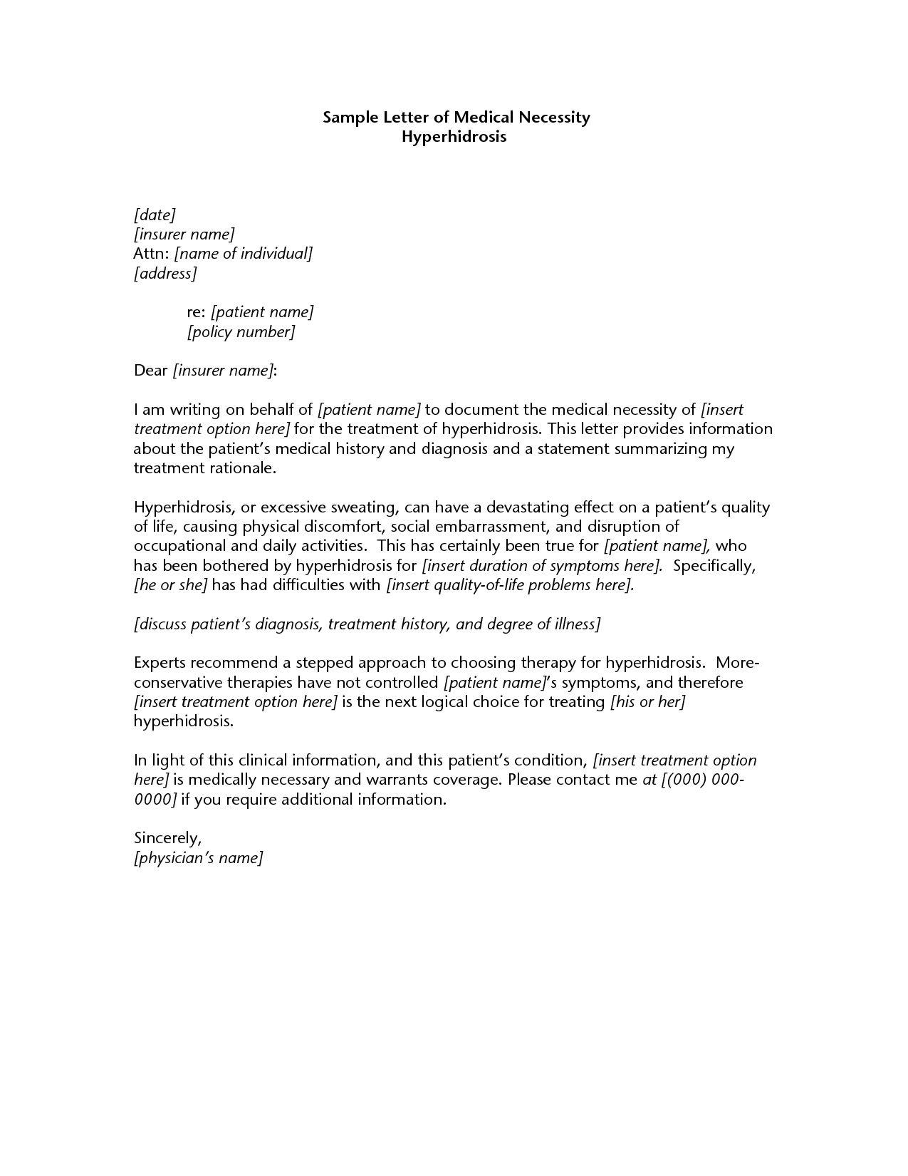 Valid Sample Letter Of Medical Necessity Download Letter