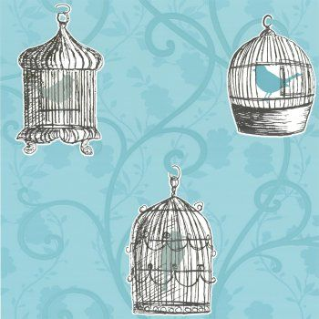 Buy Arthouse Skylark Bird Cage Wallpaper Teal Blue Cream Teal Wallpaper Birdcage Wallpaper Pattern Wallpaper