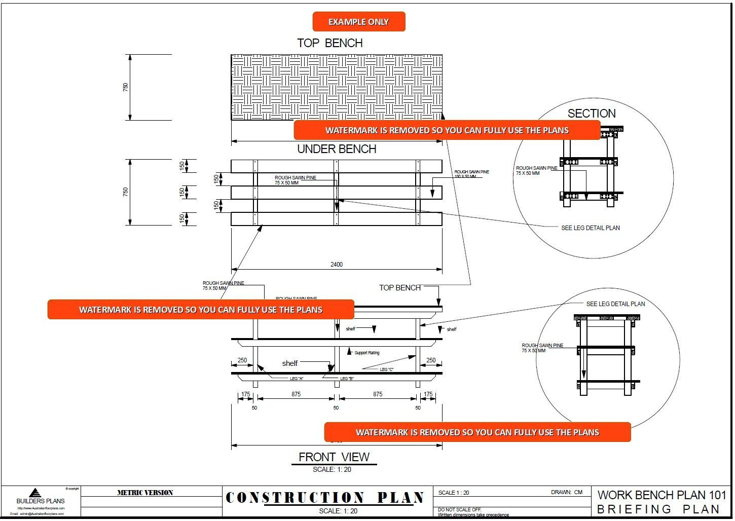 Easy Build PlansWood Garage Shelving & Work Bench Heavy