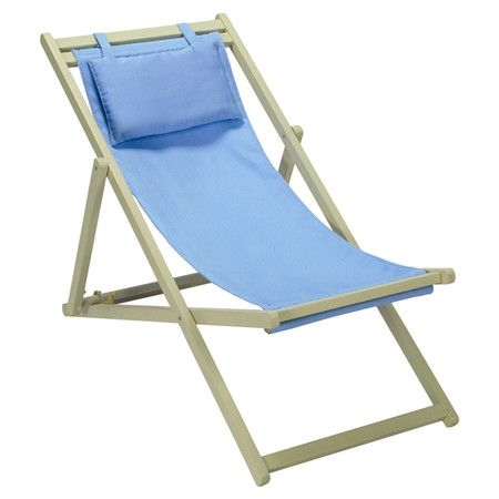 wood folding deck chair with a striped fabric seat product